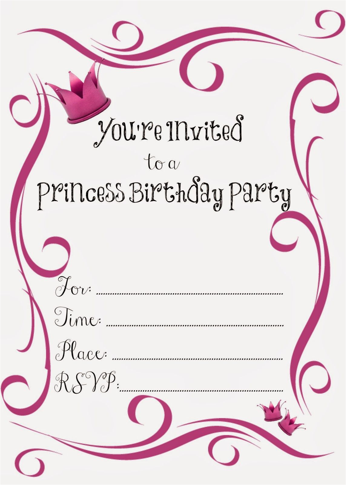 Birthday Invites Free Printable Free Printable Princess Birthday - Free Princess Printable Invitations