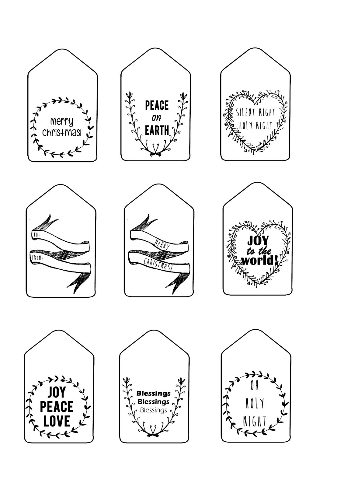 Black And White Christmas Gift Tags | Dezineappz - Christmas Gift Tags Free Printable Black And White