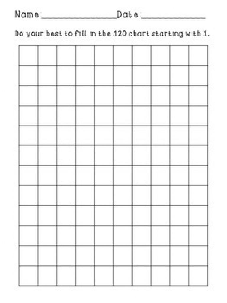 Blank 120 Chartkali Schoonmaker   Teachers Pay Teachers Intended For - Free Printable Blank 1 120 Chart