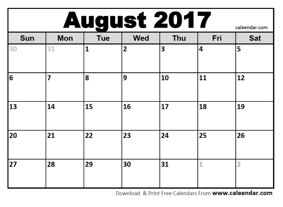 Blank August 2017 Calendar In Printable Format. | Blank August - Free Printable August 2017