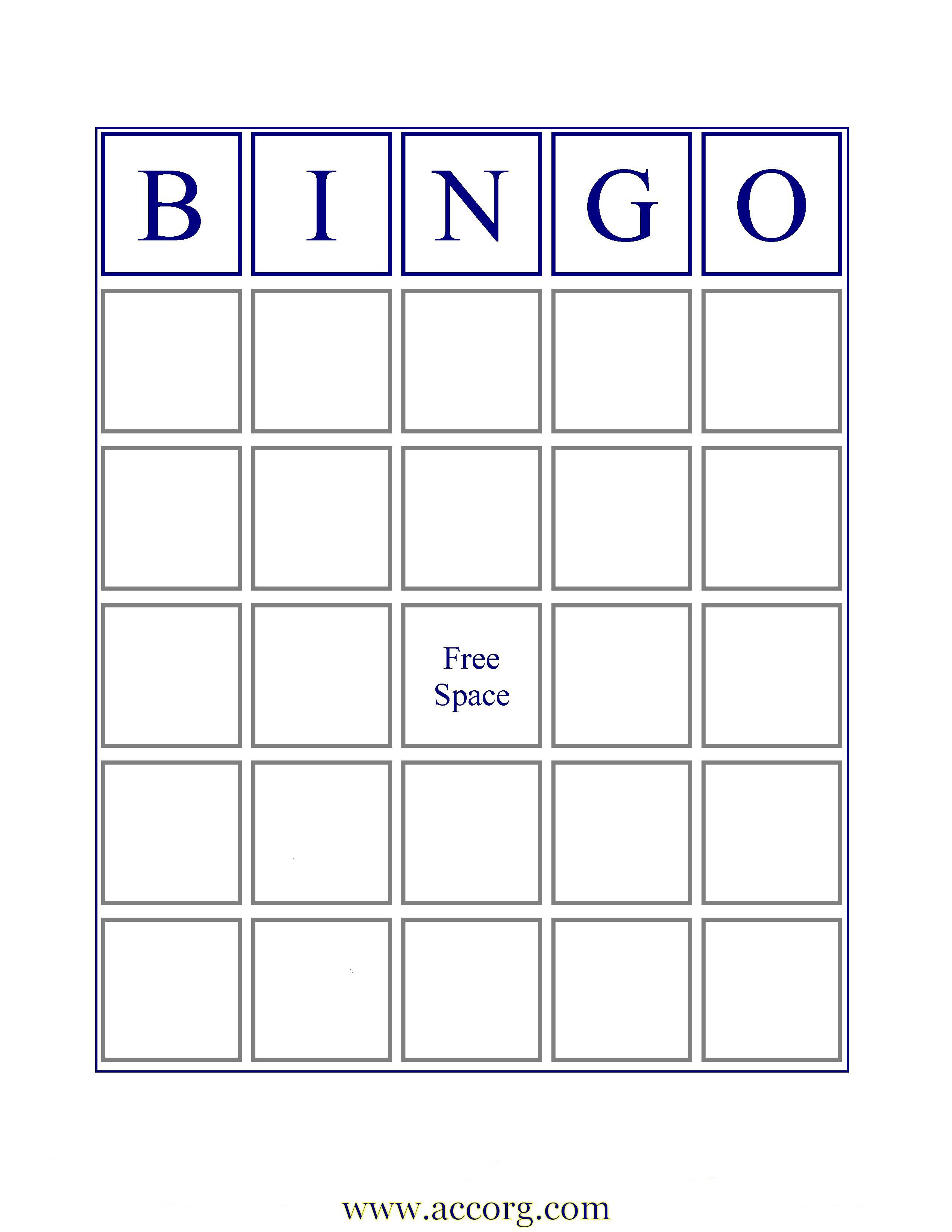 Blank Bingo Template Word – Thefreedl - Free Printable Blank Bingo Cards