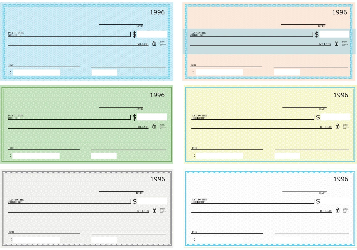 Blank Check Vector Pack - Download Free Vector Art, Stock Graphics - Free Printable Blank Checks