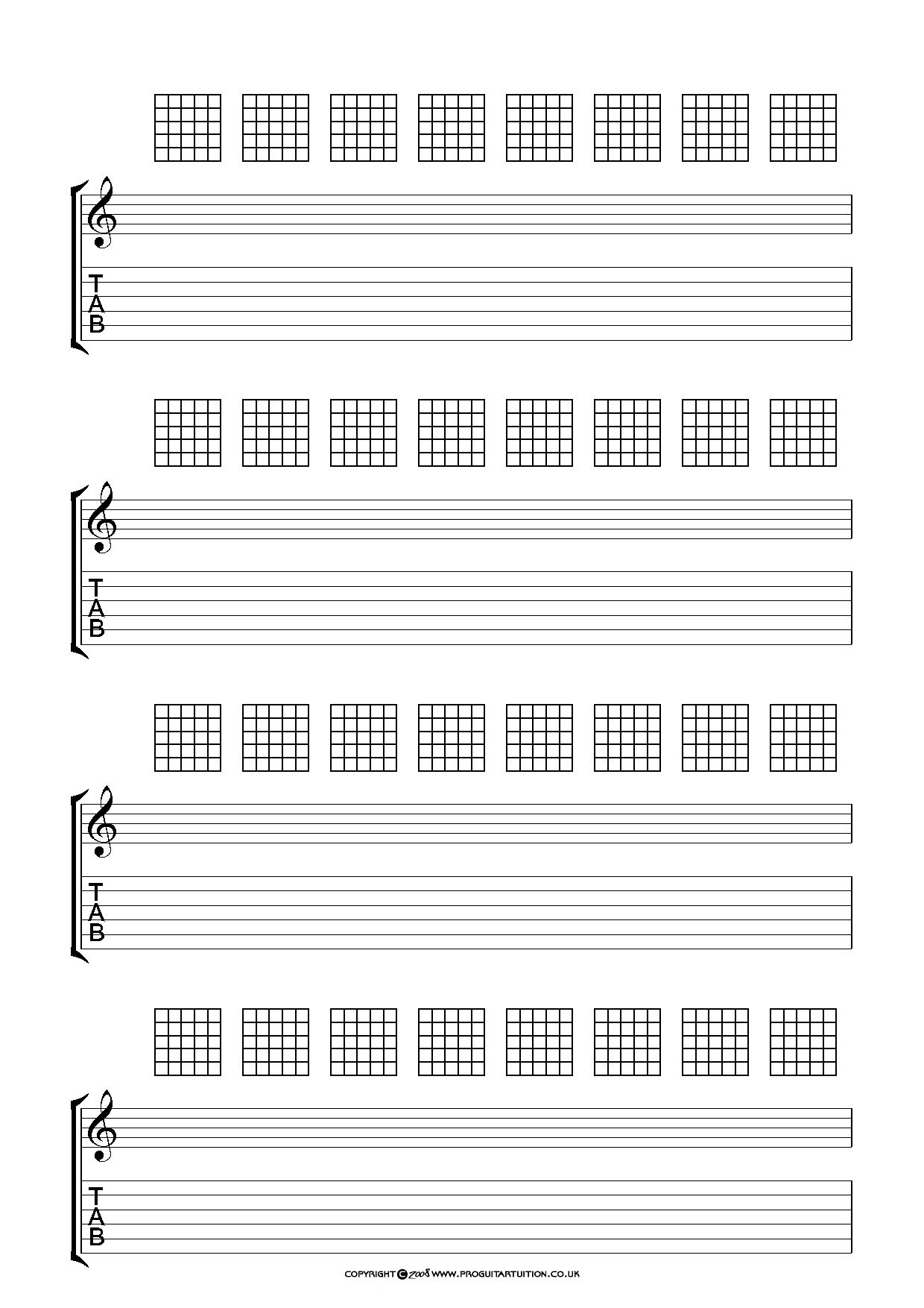Blank Chord Sheets - Google Search | Guitar In 2019 | Pinterest - Free Printable Guitar Tablature Paper