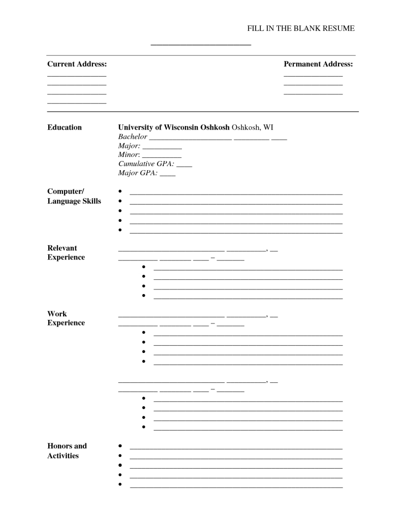 Blank Resume Form To Print Fill In The Cv Template 4 - Tjfs-Journal - Free Blank Resume Forms Printable