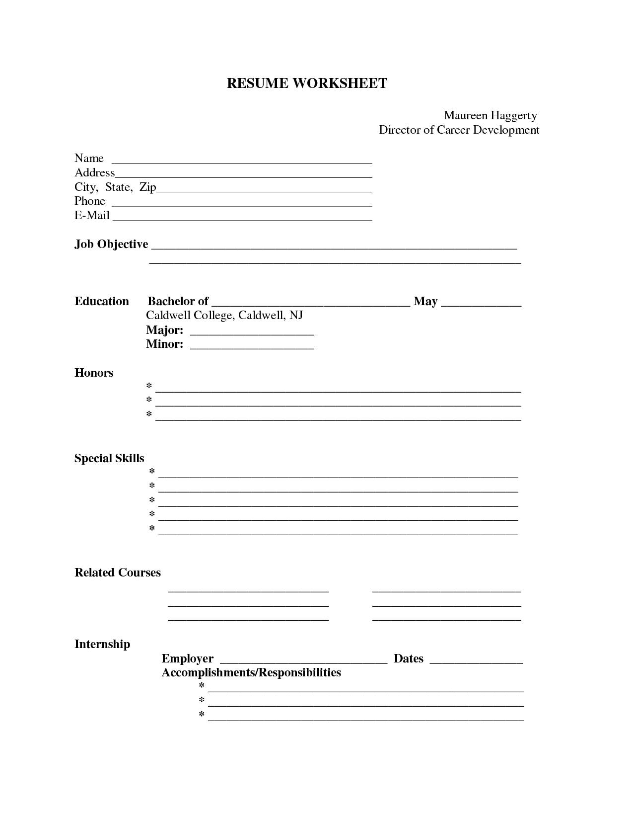 Blank Resume Form Worksheet Free Printable Resume Format | Resume - Free Blank Resume Forms Printable