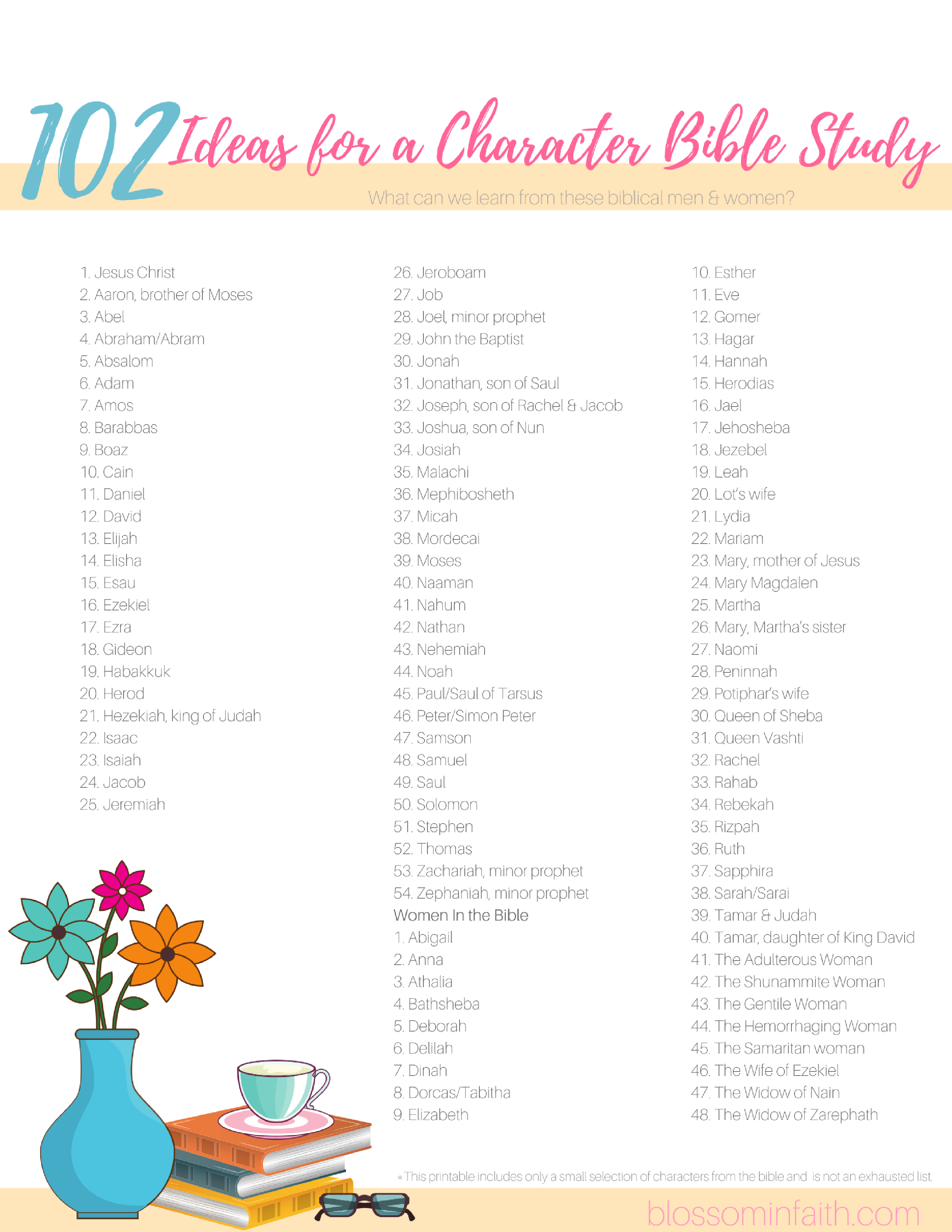 Blossom In Faith ~ 102 Ideas For A Character Bible Study - Printable Women's Bible Study Lessons Free