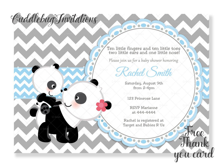 Blue Boy Panda Baby Shower Invitation Panda Bear Baby Boy Shower   Etsy - Panda Bear Invitations Free Printable