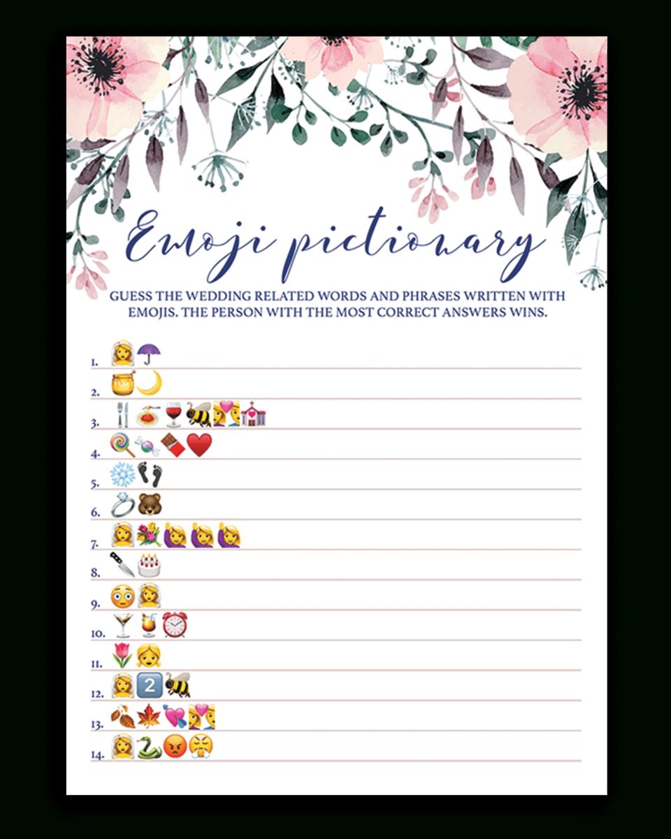 Blush Floral Bridal Shower Emoji Pictionary Game Printable - Emoji Bridal Shower Game Free Printable