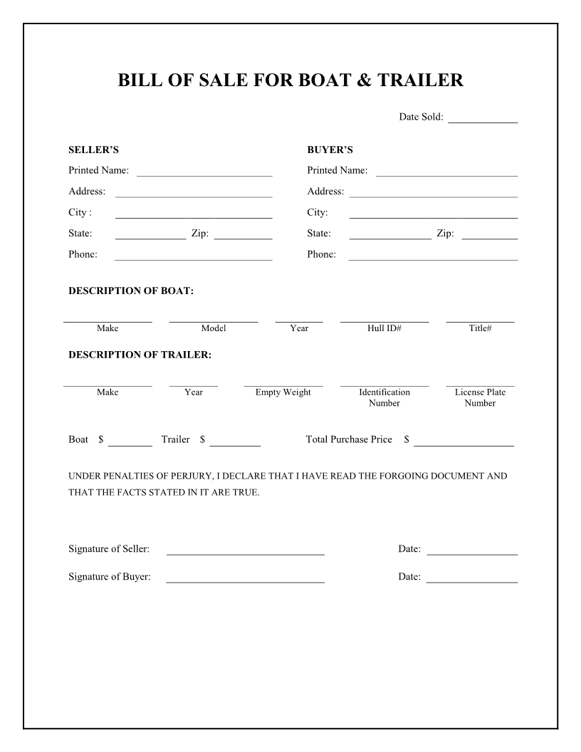 Boat Bill Sale Free Printable | Boat & Trailer Bill Of Sale Form - Free Printable Bill Of Sale Form