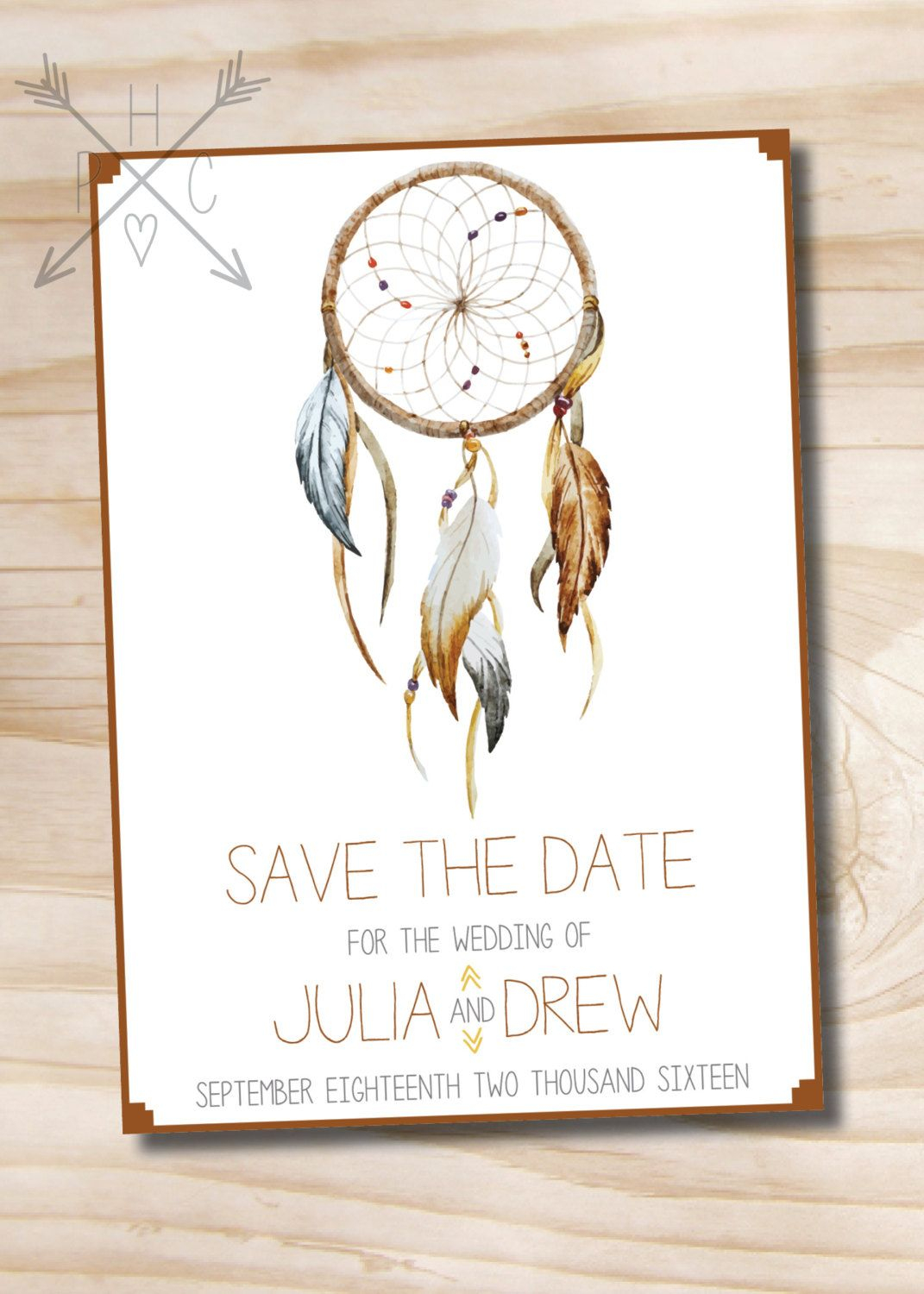 Boho Dreamcatcher Save The Date - Printable Digital File Or Printed - Free Printable Save The Date Birthday Invitations
