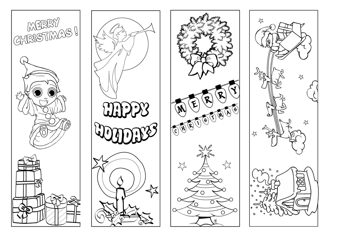 Bookmarks   Beyond Survival In A School Library - Free Printable Christmas Bookmarks To Color