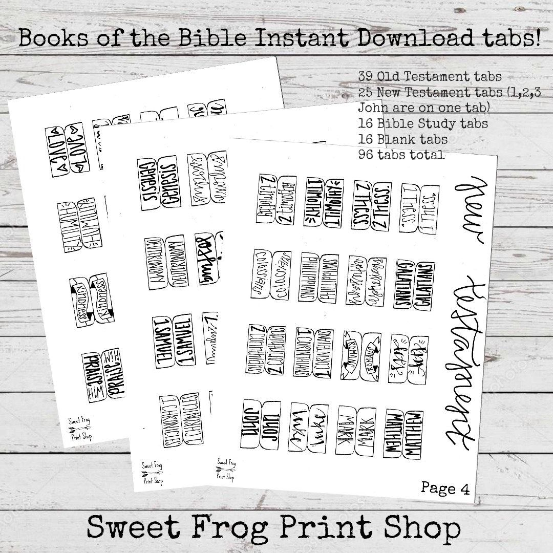 Books Of The Bible Tabs Freebie New Test. And Old Test. | Etsy - Free Printable Books Of The Bible Tabs