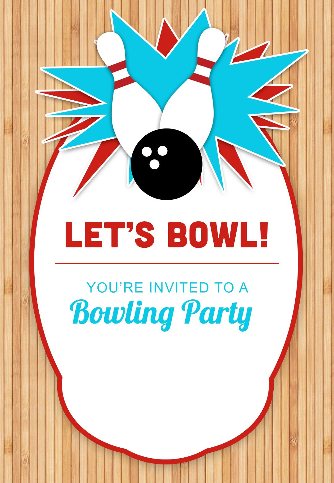 Bowling Party - Free Printable Birthday Invitation Template - Free Printable Bowling Birthday Party Invitations