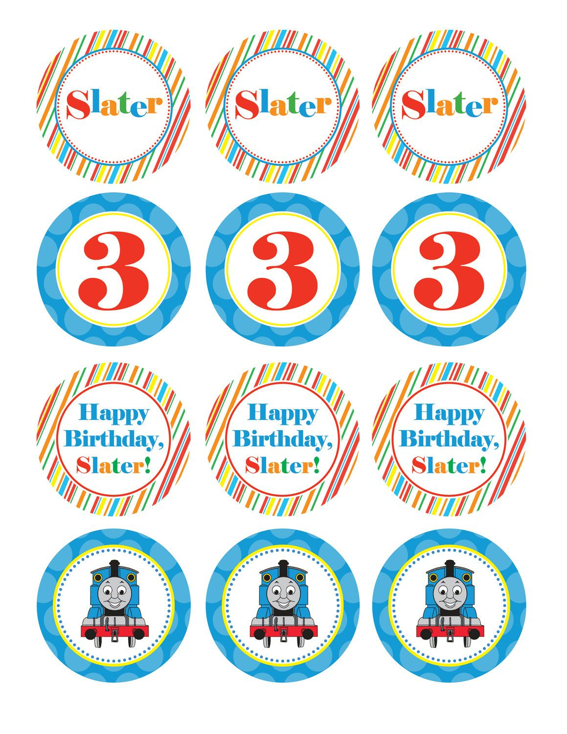 Boy Birthday, Thomas The Train, Custom Cupcake Toppers, Favor Tags - Free Printable Train Cupcake Toppers