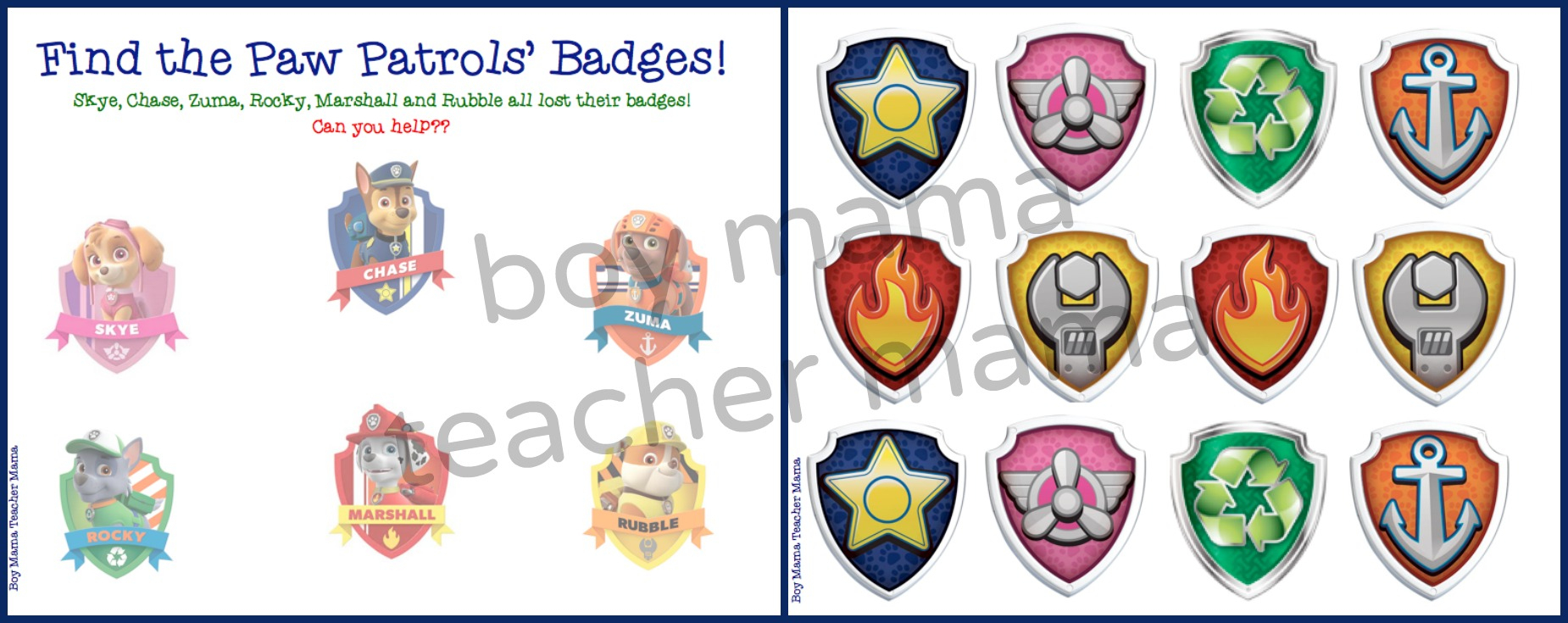 Boy Mama: Free Paw Patrol Find The Badge Printable Game - Boy Mama - Free Printable Badges