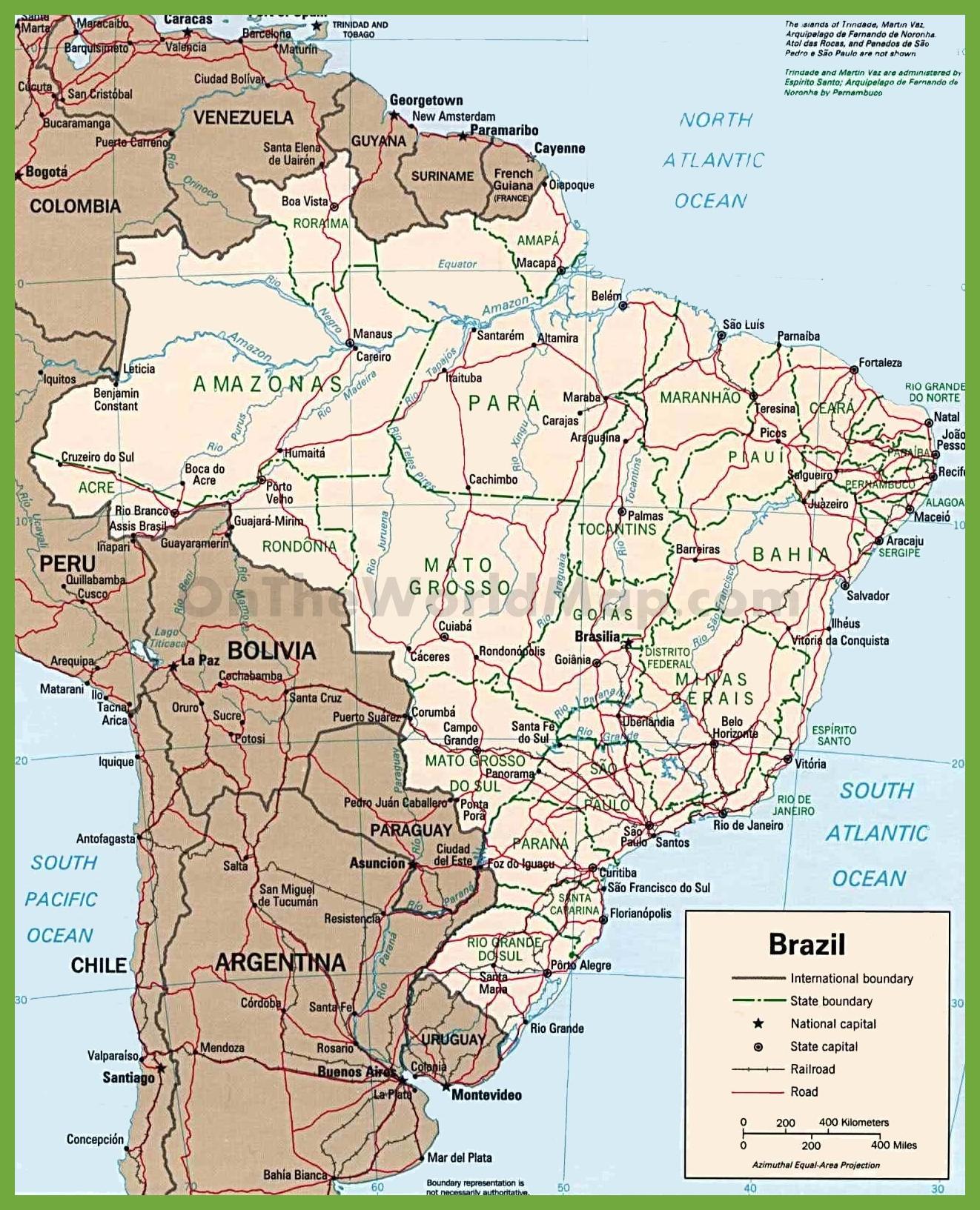 Brazil Road Map - Free Printable Map Of Brazil