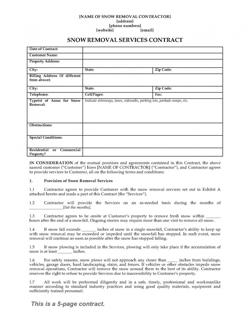 Breathtaking Snow Removal Contract Template ~ Ulyssesroom - Free Printable Snow Removal Contract
