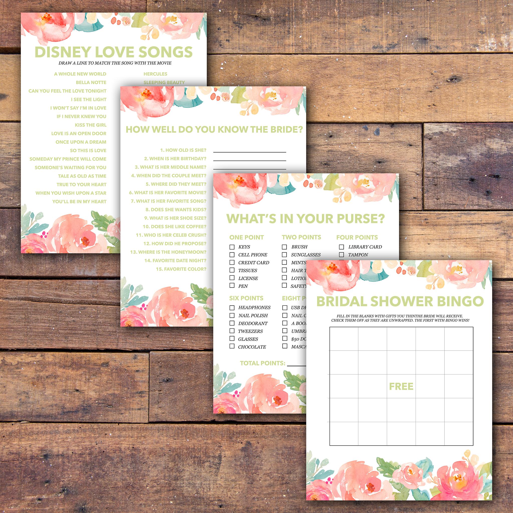 Bridal Shower Games Free Printable - - Samantha Jean Photograhy - Free Printable Bridal Shower Games