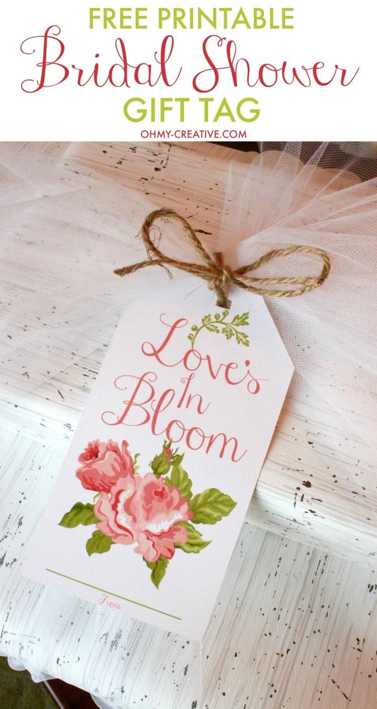 Bridal Shower Printable Gift Tag - Oh My Creative - Free Printable Wedding Decorations