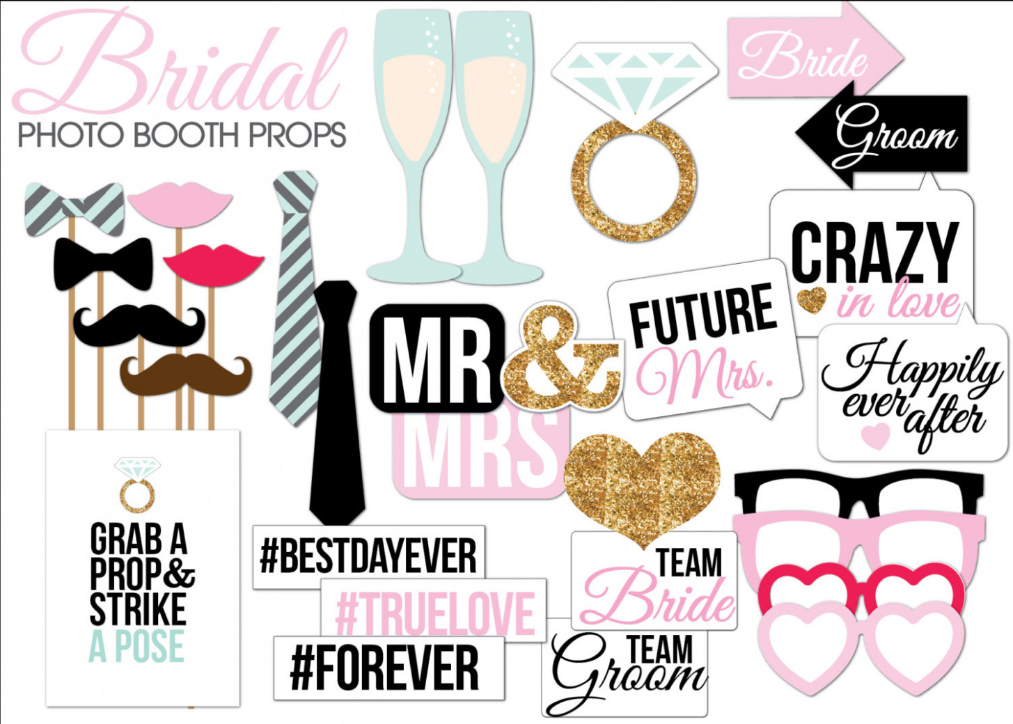 Bridal Shower/wedding Photo Booth Props Printable Pdf – Smartvaforu - Free Printable Wedding Photo Booth Props