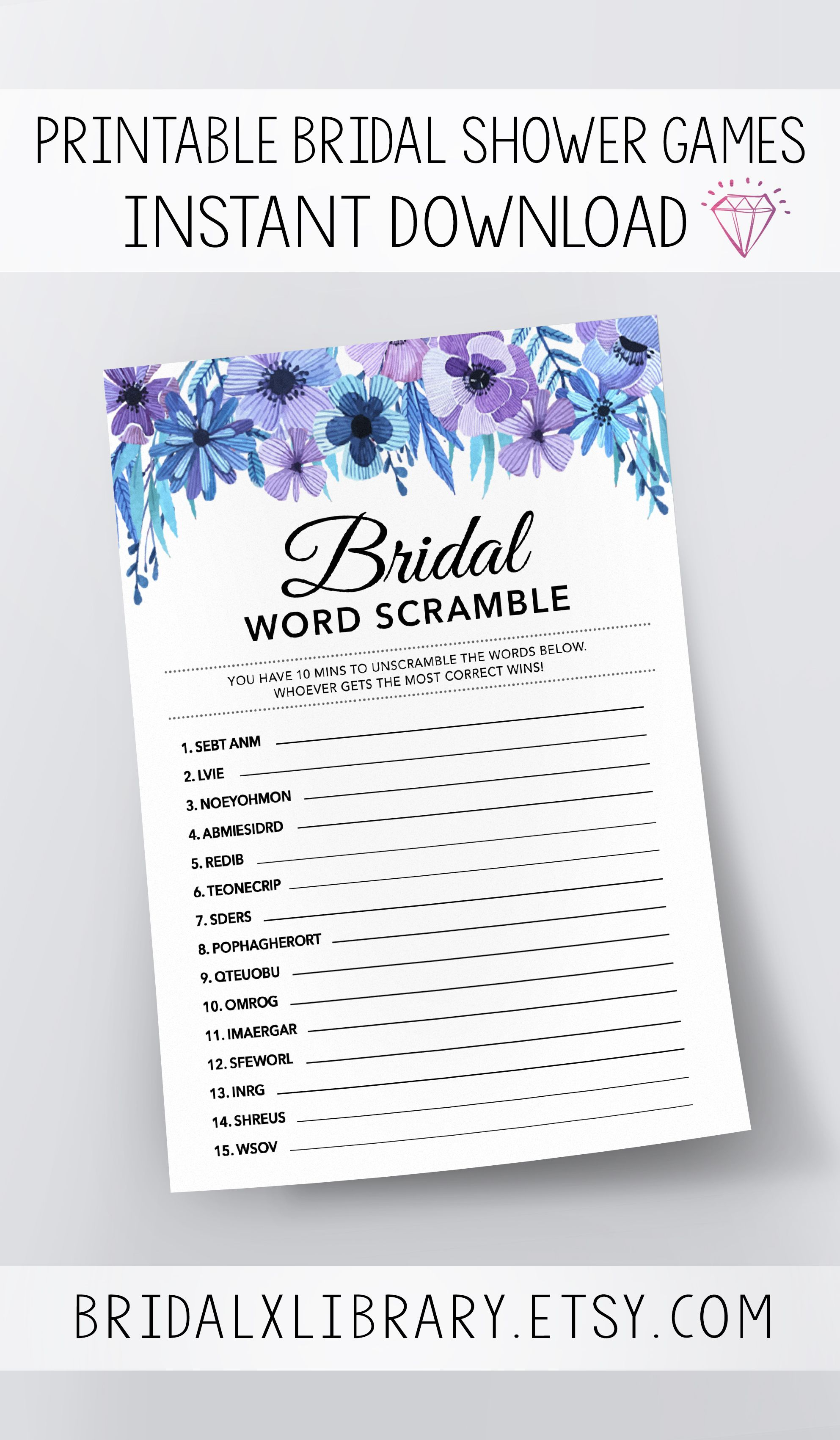 Bridal Word Scramble, Bridal Shower Games Printables, Bridal Shower - Free Printable Bridal Shower Games Word Scramble