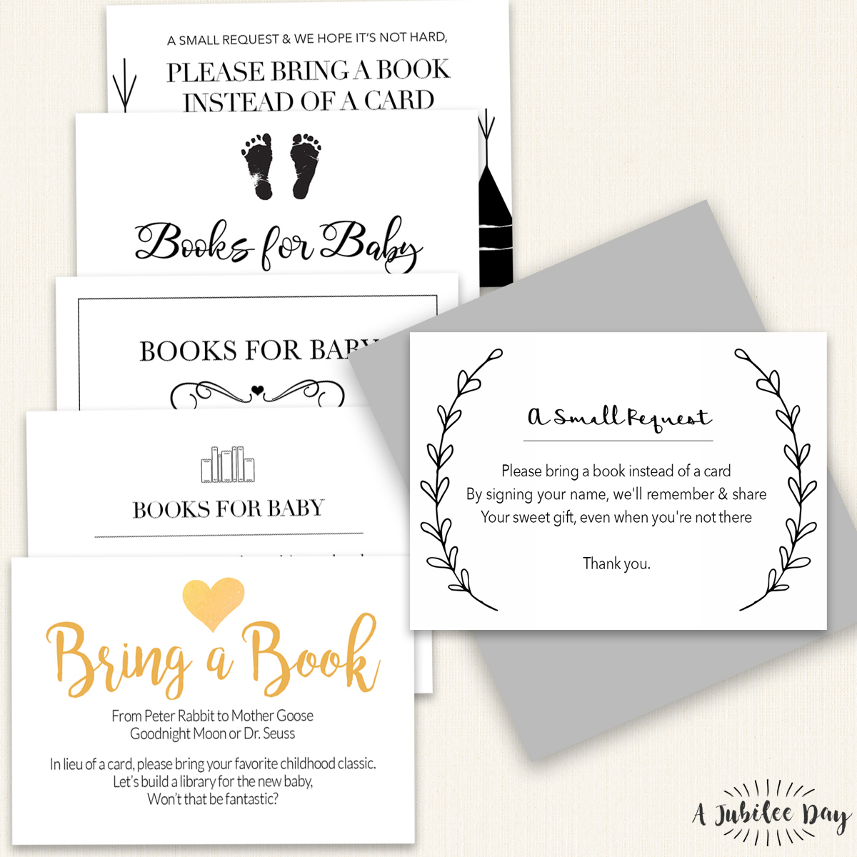 Bring Book Request Card (6 Designs!) - A Jubilee Day - Bring A Book Instead Of A Card Free Printable