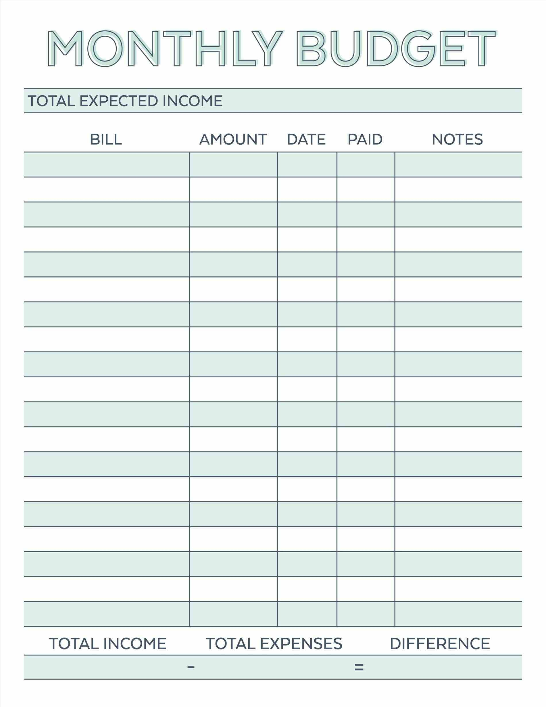 Budget Planner Planner Worksheet Monthly Bills Template Free - Free Printable Budget Planner
