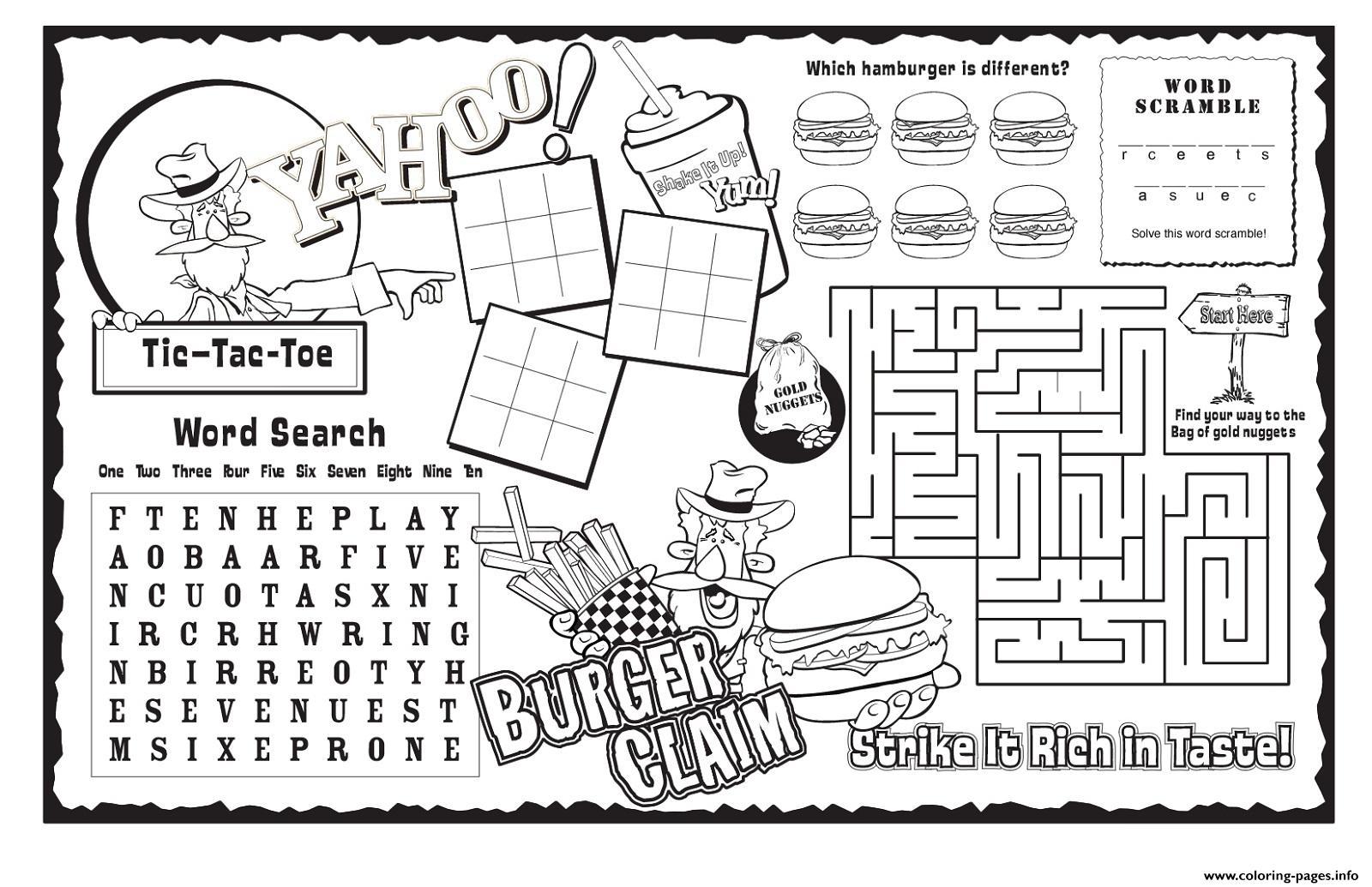 Burger Claim Kids Activity Sheet Free Coloring Pages Printable - Free Printable Activity Sheets For Kids