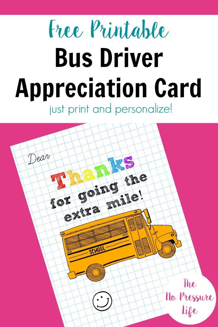Bus Driver Appreciation Card: Free Printable! | Free Printables - Free Printable Days Of The Week Cards