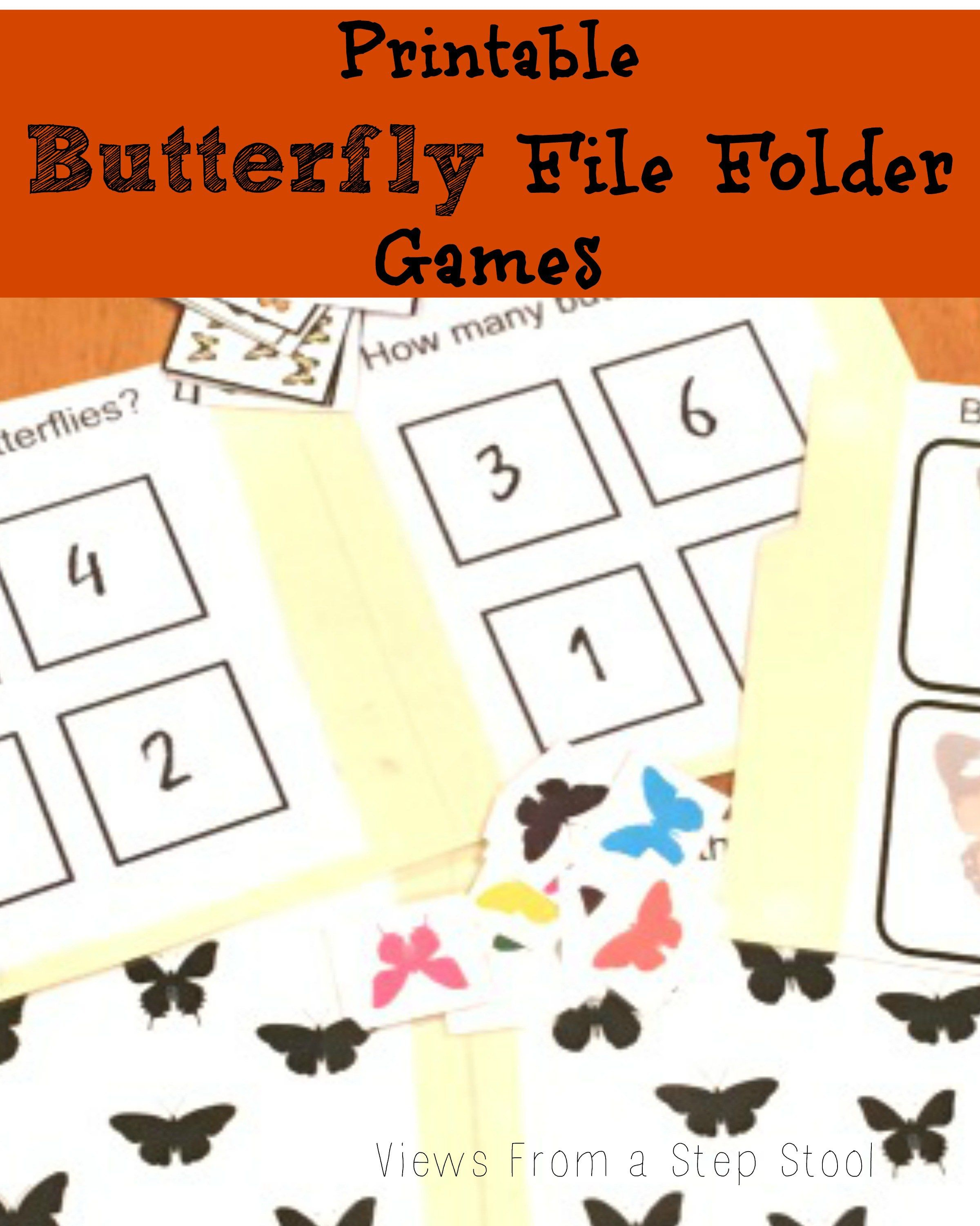 Butterfly File Folder Games: Free Printable! | Views From A Step - Free Printable File Folder Games
