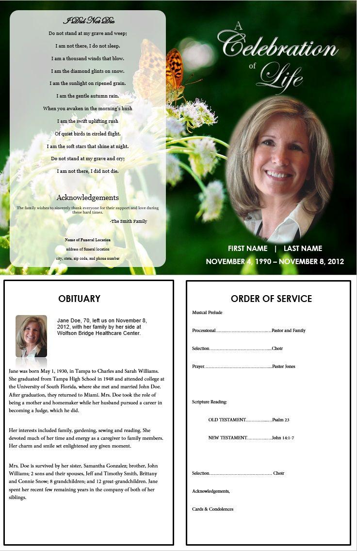Butterfly Memorial Program | Memorials | Funeral Memorial, Memorial - Free Printable Funeral Programs
