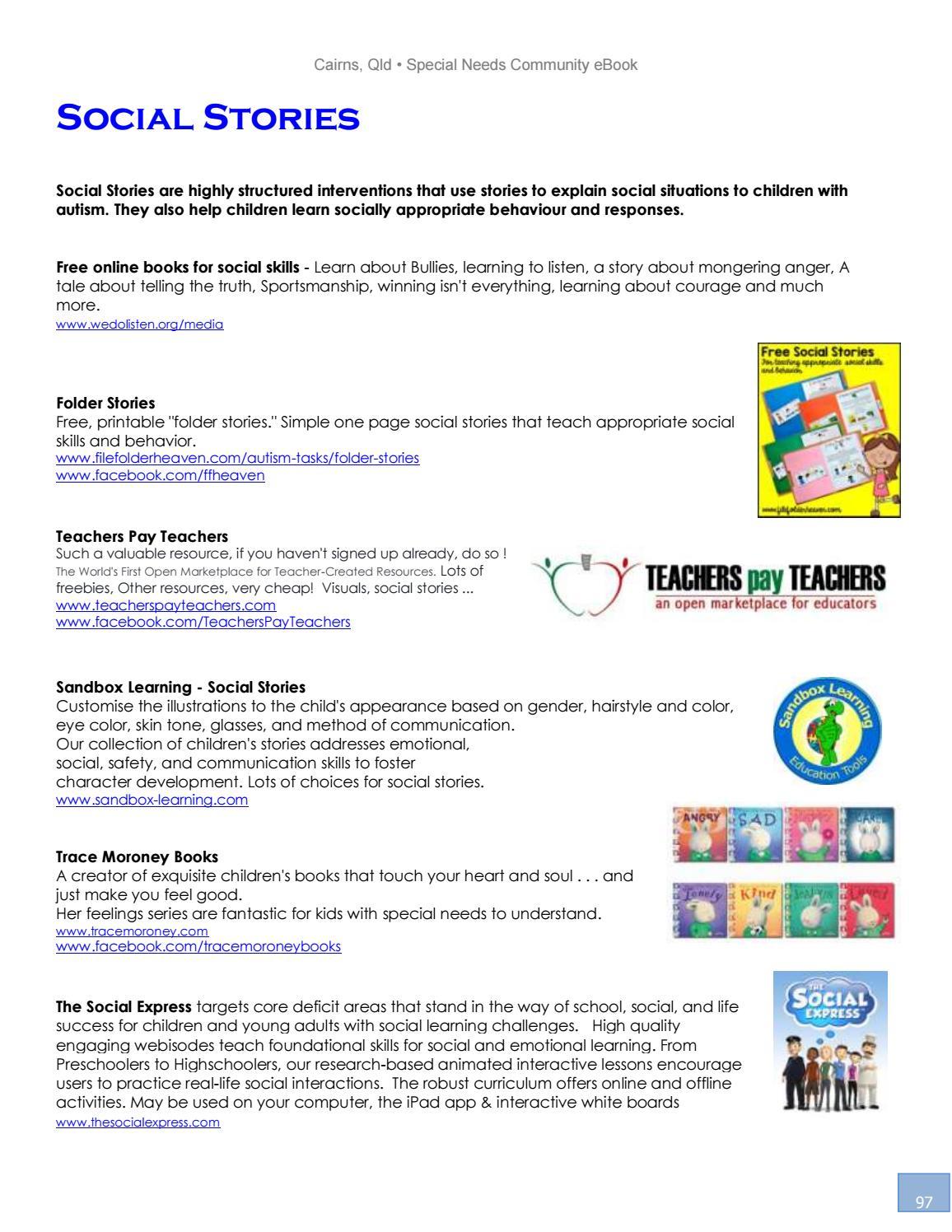 Cairns Special Needs Community Ebook 2017-2018 Editionheidi - Issuu - Free Printable Social Skills Stories For Children