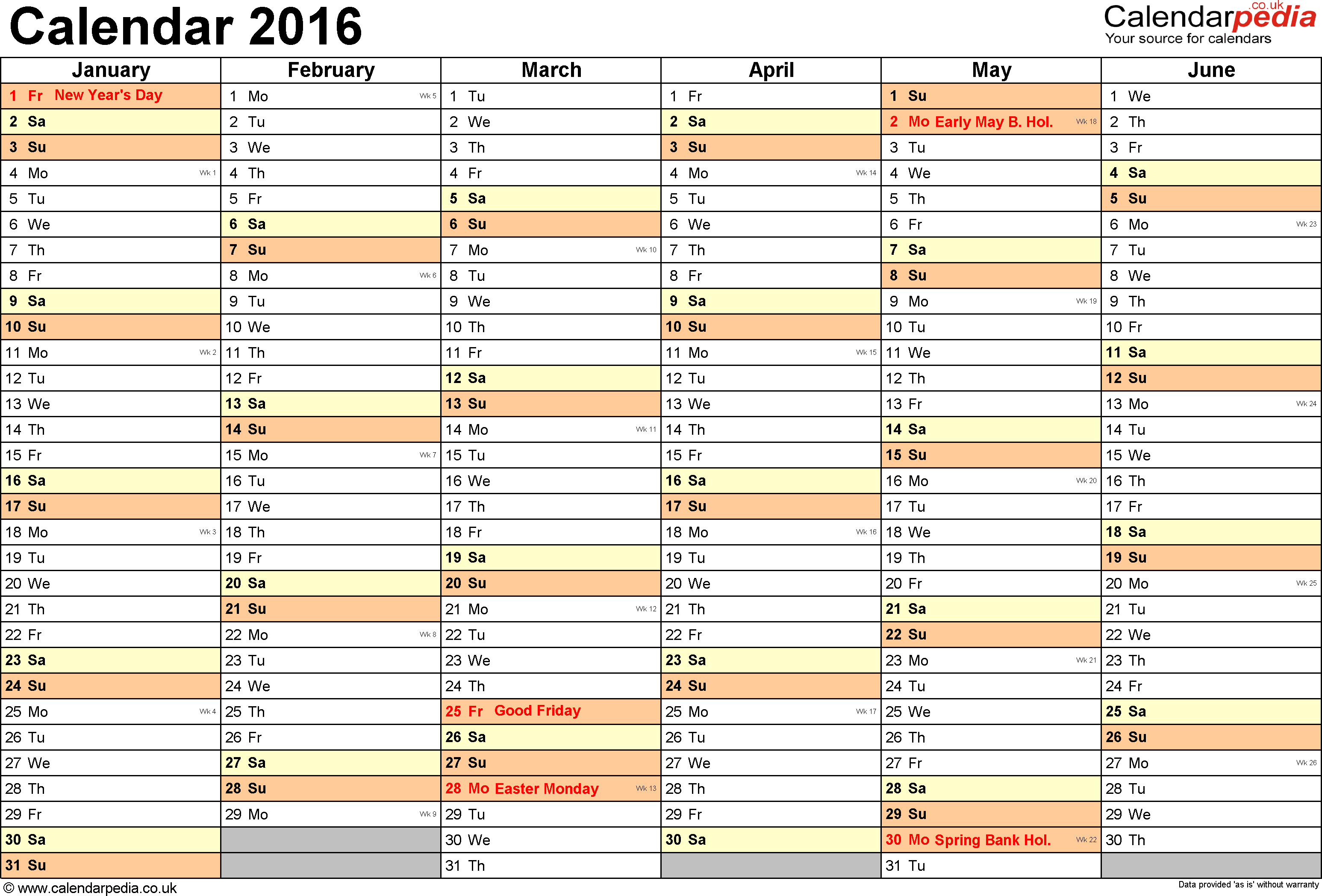 Calendar 2016 (Uk) - 16 Free Printable Word Templates - Free Printable Monthly Planner 2016