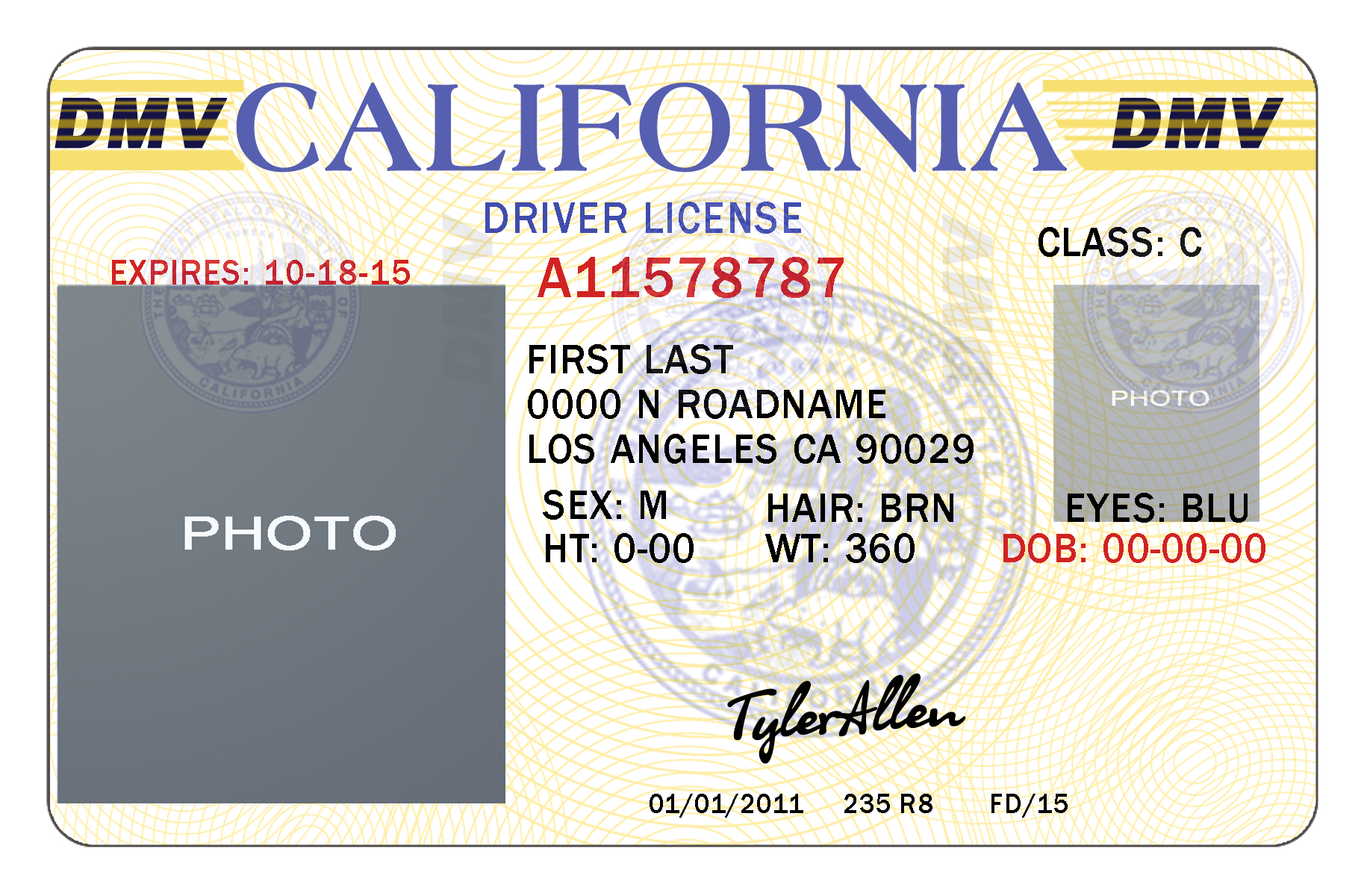 California Drivers License Template Buy Registered Real/fake - Free Printable Fake Drivers License