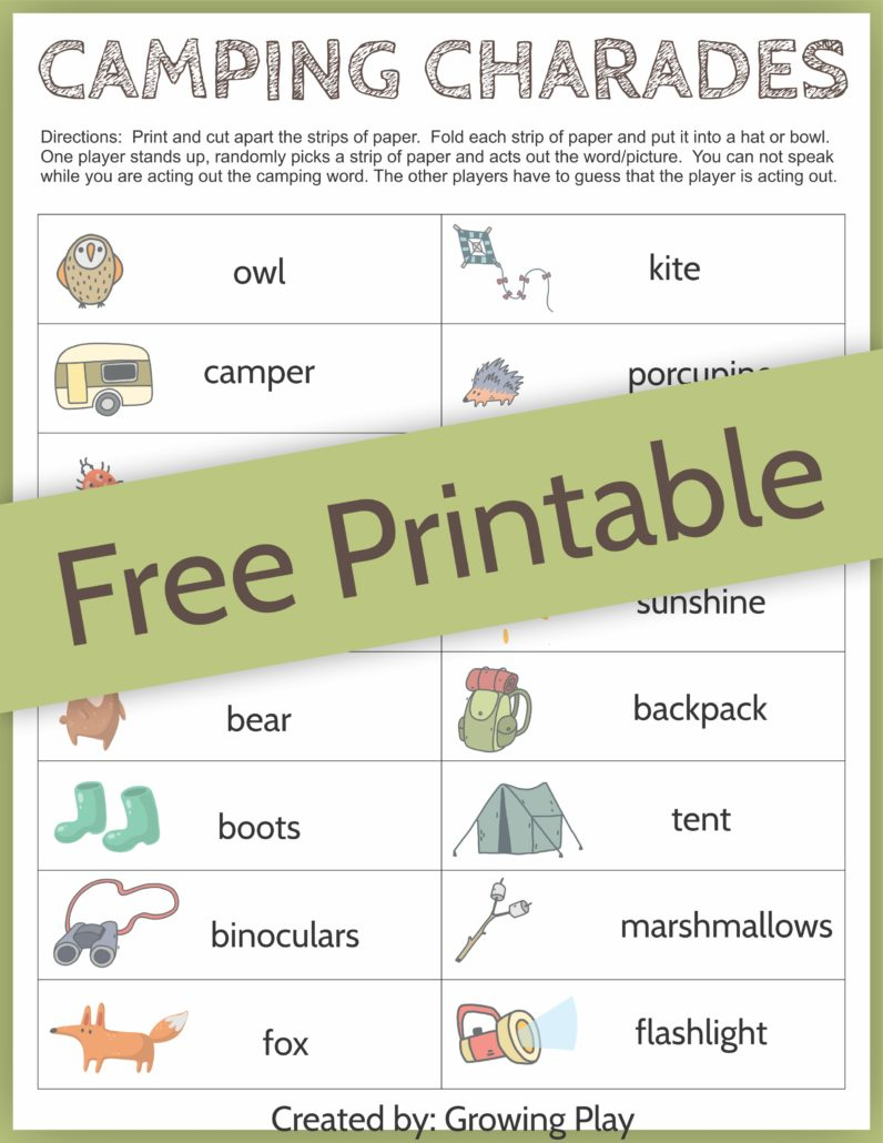 Camping Charades Game For Kids - Free Printable - Growing Play - Free Printable Charades Cards
