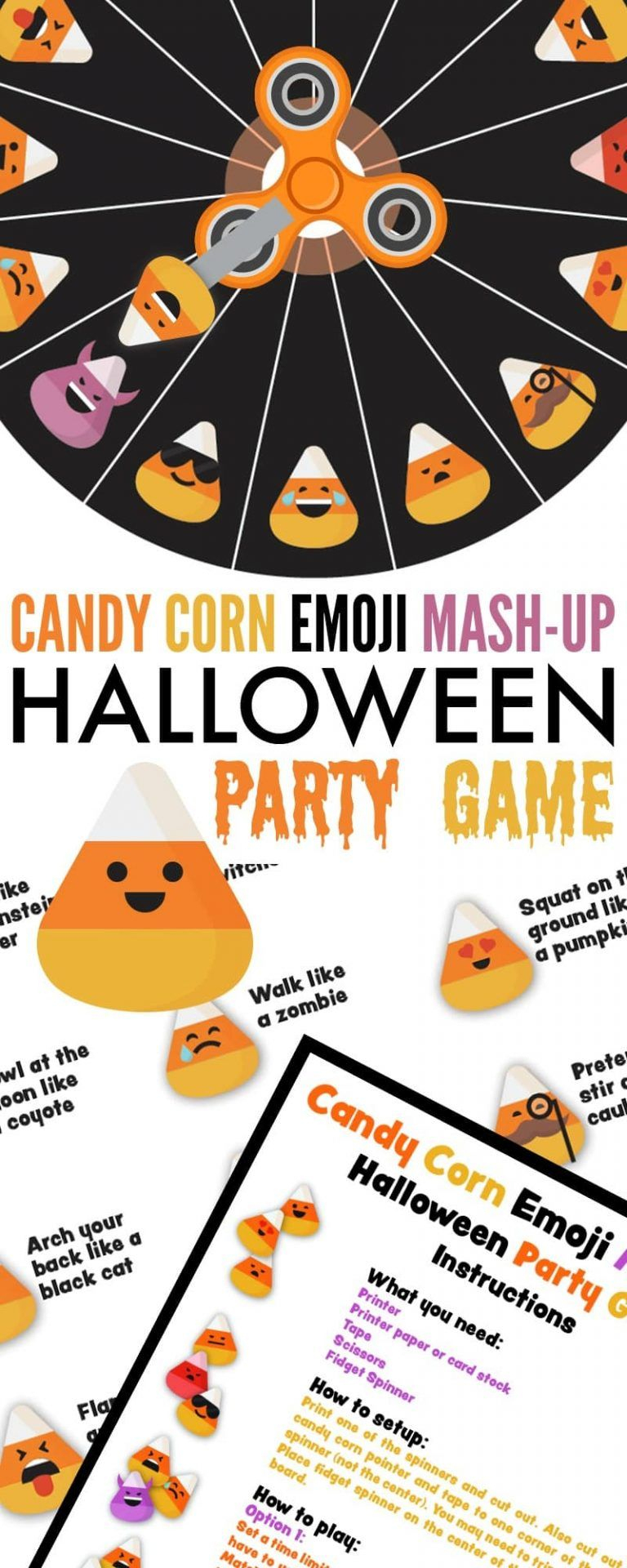 Candy Corn Emoji Mash-Up Halloween Party Game | School | Halloween - Free Printable Halloween Party Games