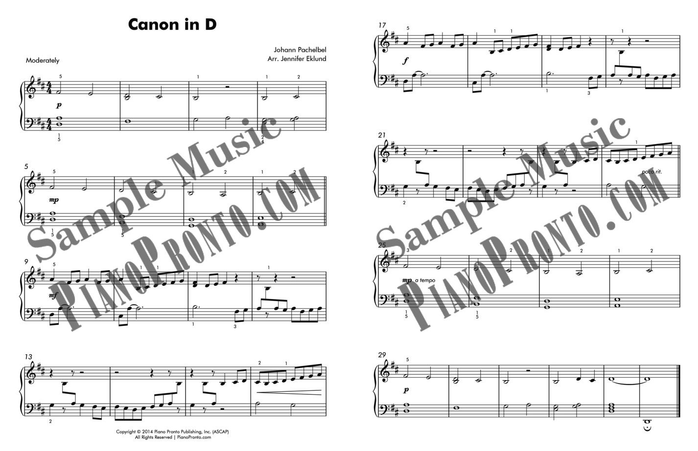 Canon In D - Easy Piano Version   Sheet Music   Piano Pronto Publishing - Canon In D Piano Sheet Music Free Printable