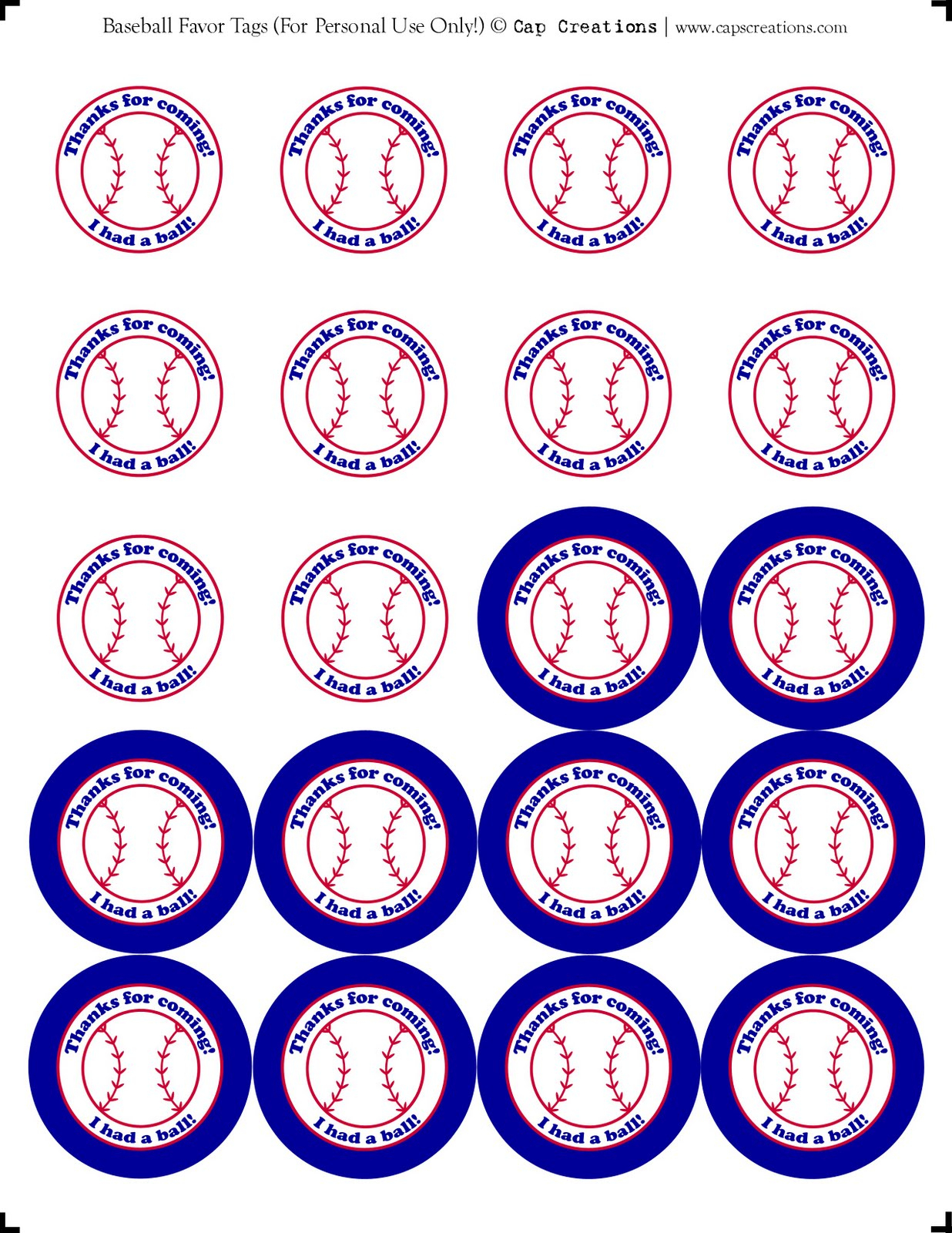 Cap Creations: Printable Baseball Party Favor Thank You Tags - Free Printable Baseball Favor Tags