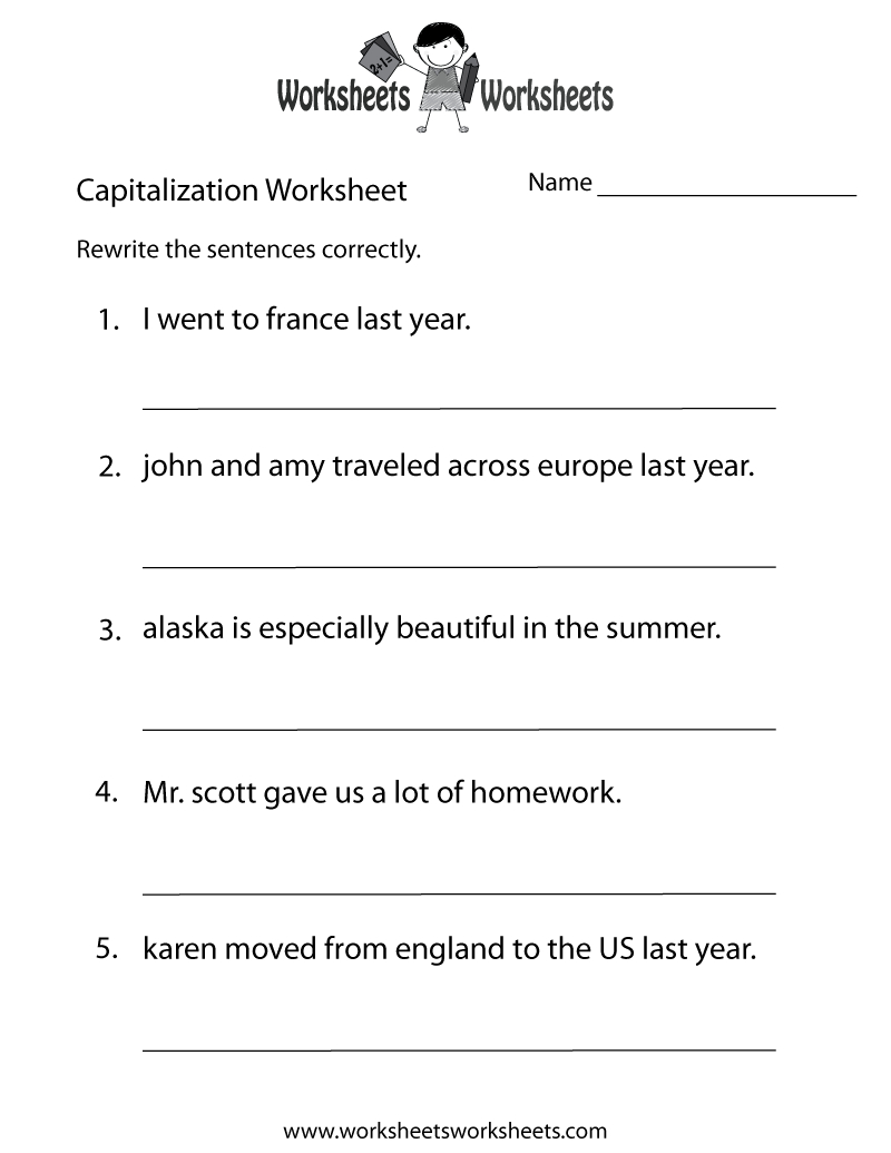 Capitalization Worksheets | Capitalization Practice Worksheet - Free - Free Printable Third Grade Grammar Worksheets