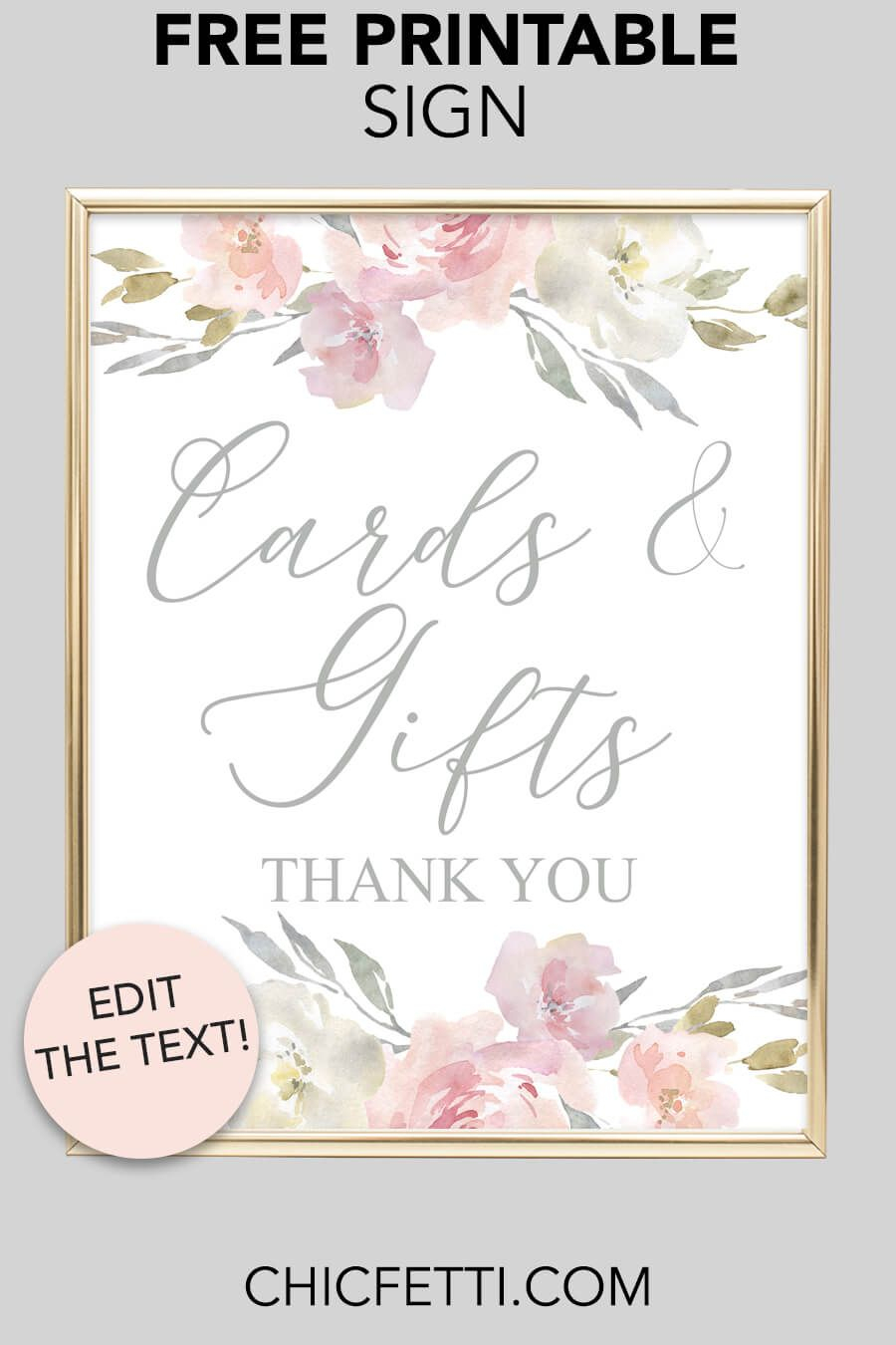 Cards & Gifts Printable Sign (Blush Floral   Free Printables   Free - Cards Sign Free Printable
