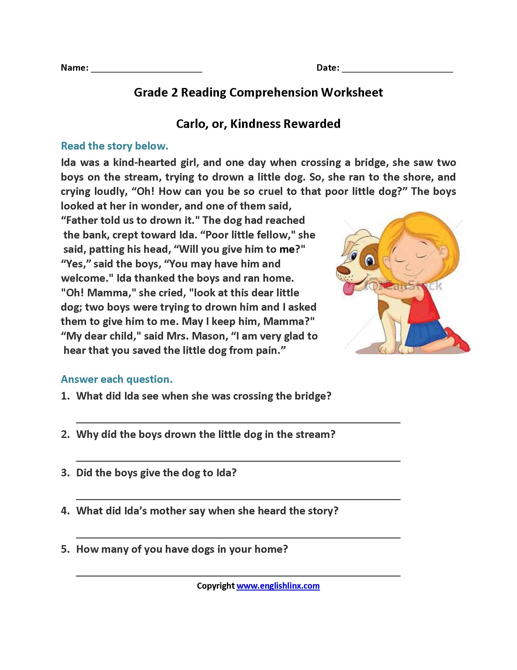 Carlo Or Kindness Rewarded Second Grade Reading Worksheets | Reading - Free Printable Reading Comprehension Worksheets Grade 5