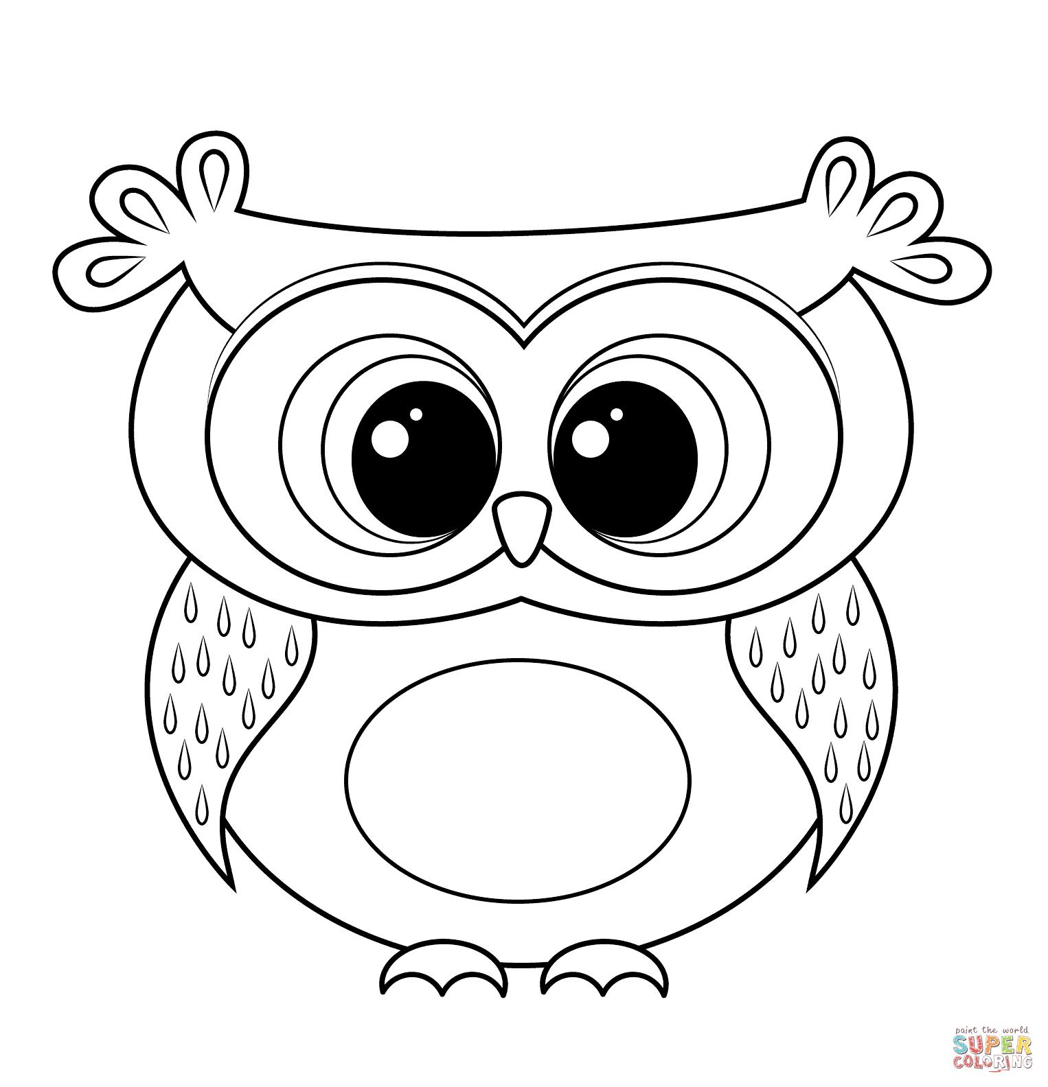Cartoon Owl Coloring Page | Free Printable Coloring Pages - Free Printable Owl Coloring Sheets