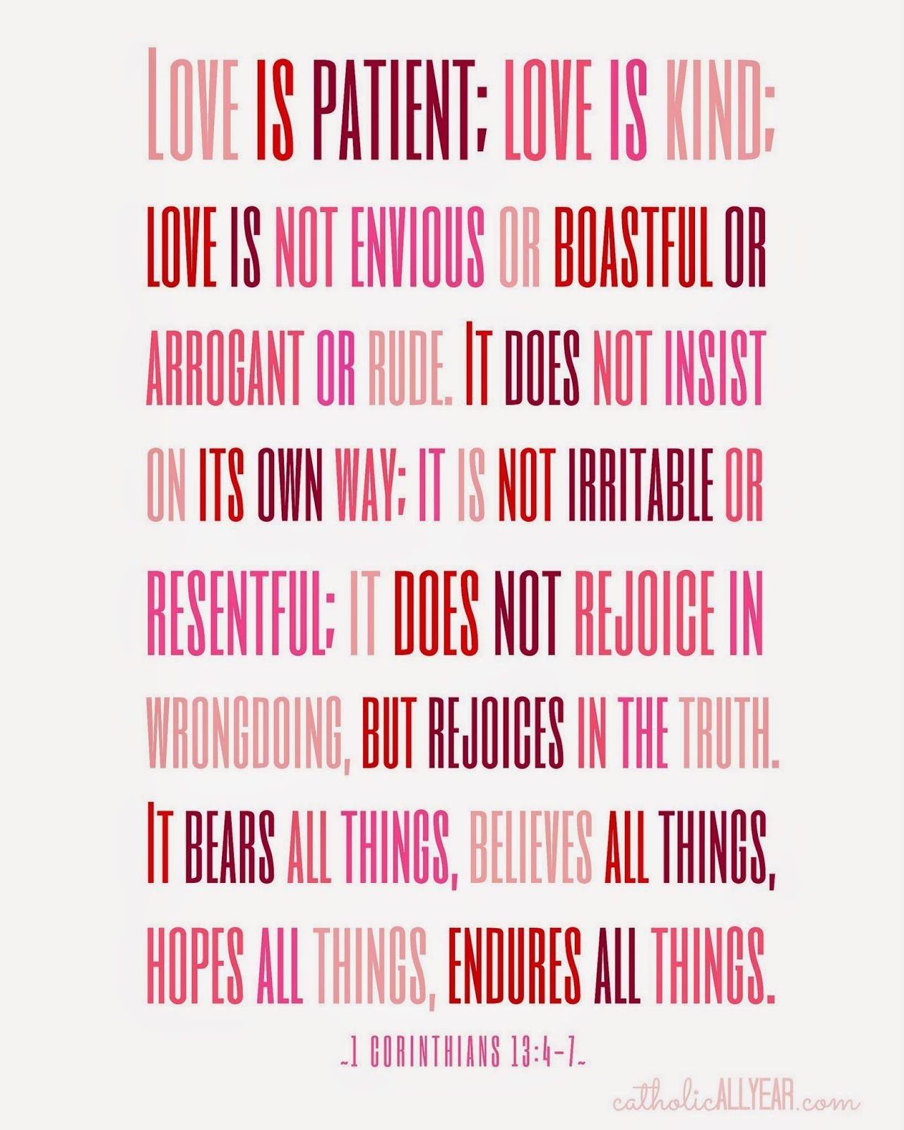 """Catholic All Year: Seven Free Printable Catholic Valentines """"love Is - Love Is Patient Love Is Kind Free Printable"""
