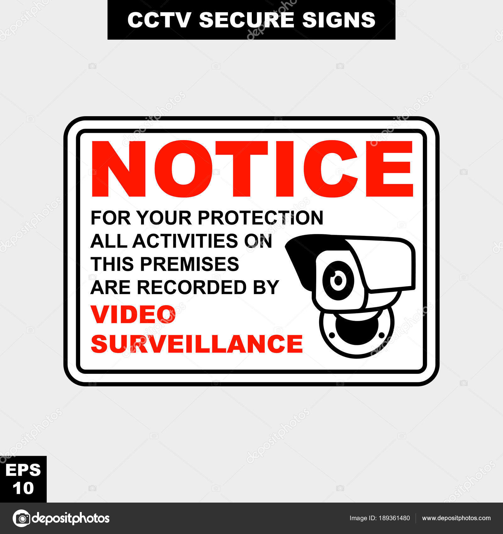 Cctv Alarm Monitored Hour Video Camera Sign Vector Style Version - Printable Video Surveillance Signs Free