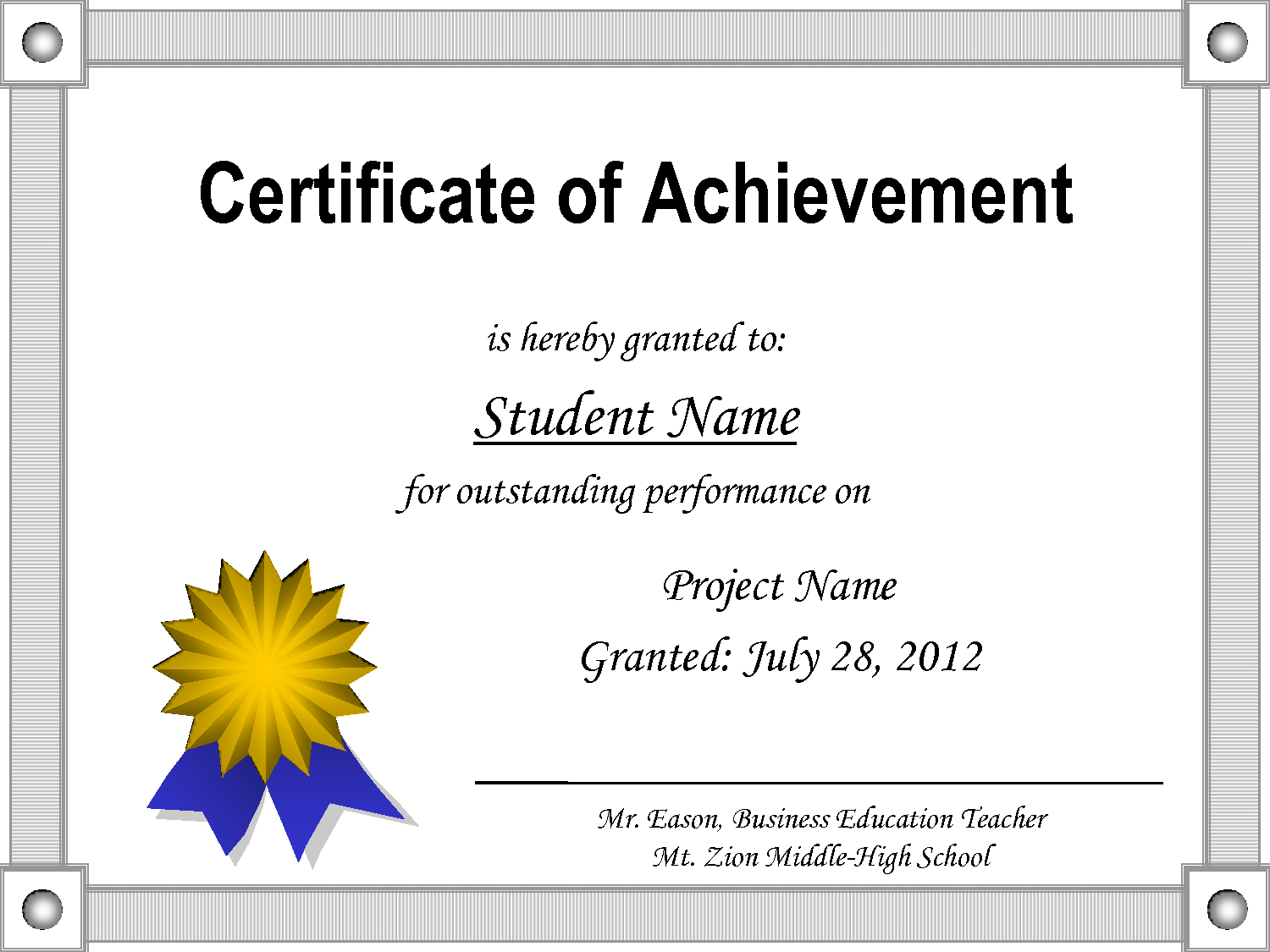 Certificate-Of-Achievement-Template - Free Printable Certificates For Students