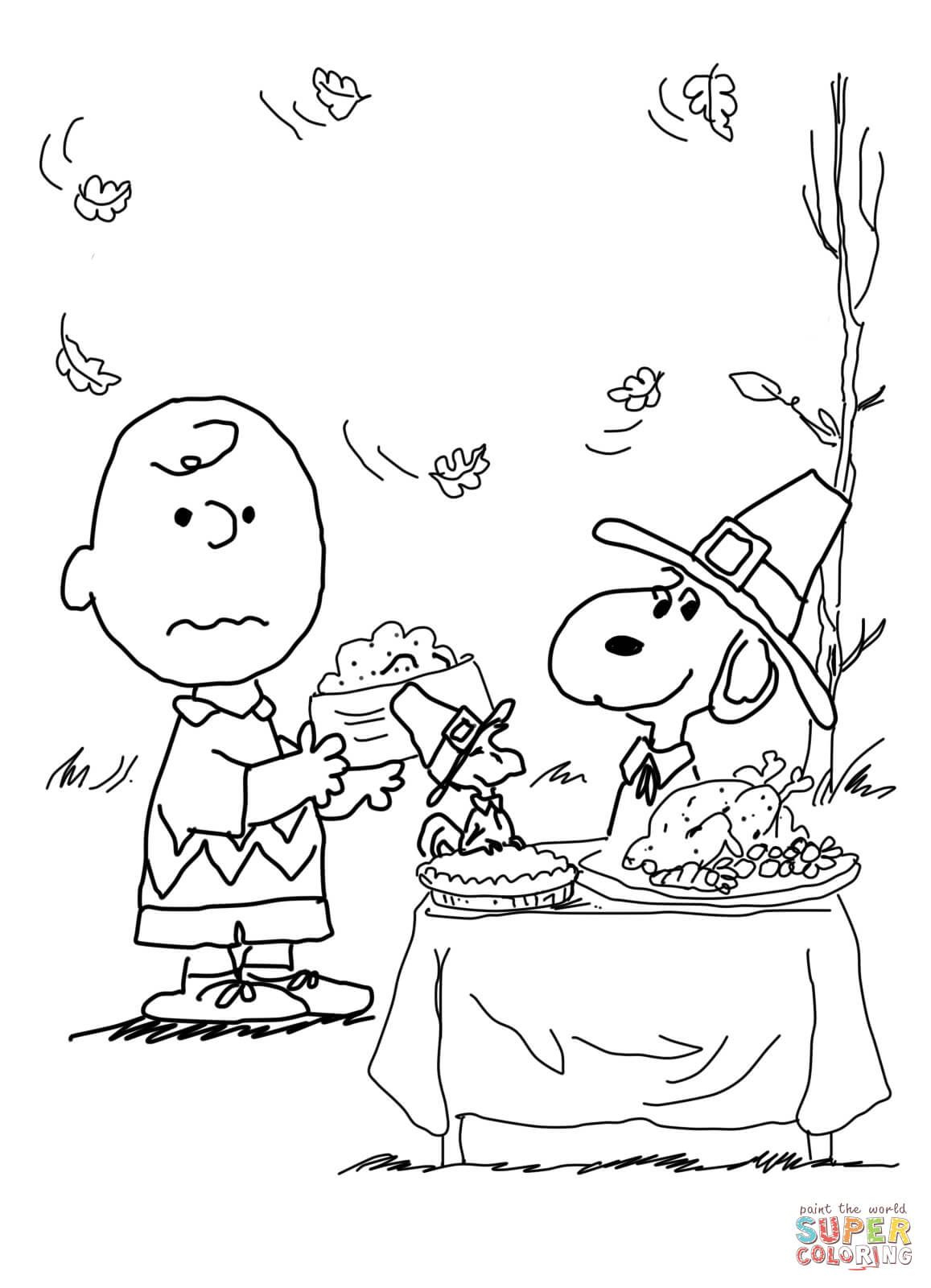 Charlie Brown Thanksgiving Coloring Page From Peanuts Category - Free Printable Charlie Brown Halloween Coloring Pages