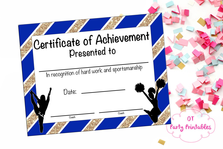 Cheerleading Certificate Cheerleading Award Cheerleading | Etsy - Free Printable Cheerleading Certificates