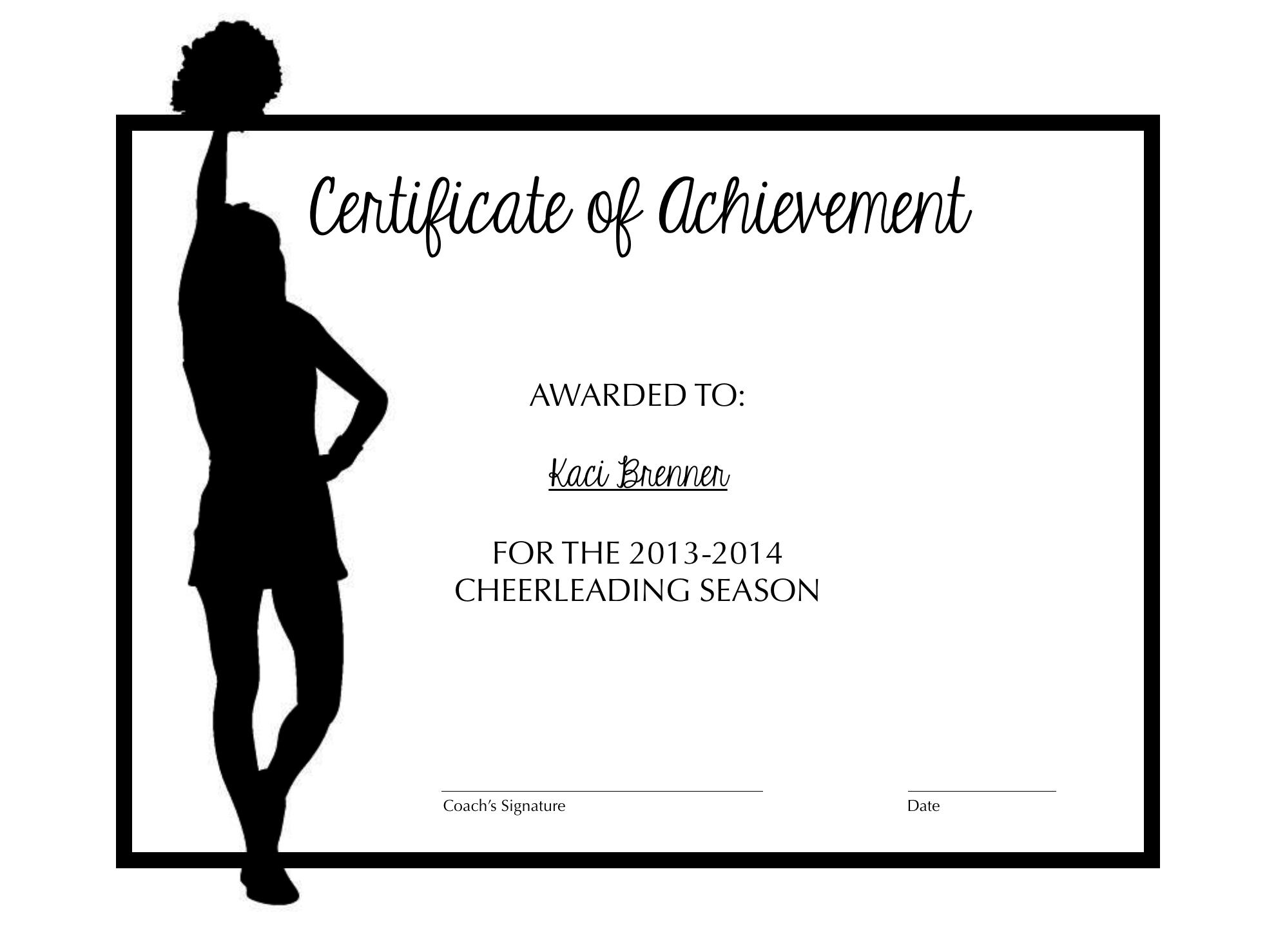 Cheerleading Certificate Of Achievement | Cheer | Pinterest | Cheer - Free Printable Cheerleading Certificates