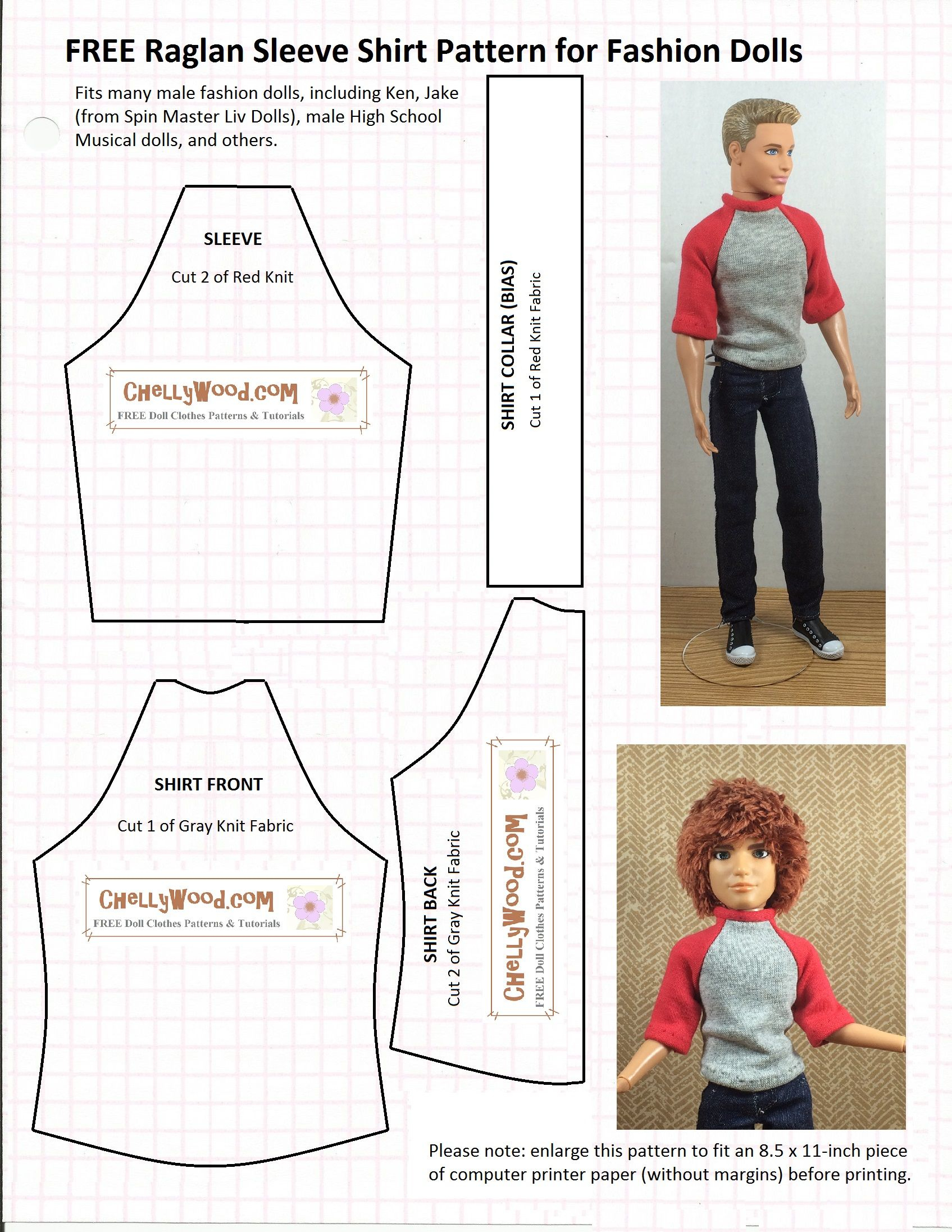Chellywood Has Free, Printable Sewing Patterns For Lots Of - Free Printable Patterns For Sewing Doll Clothes
