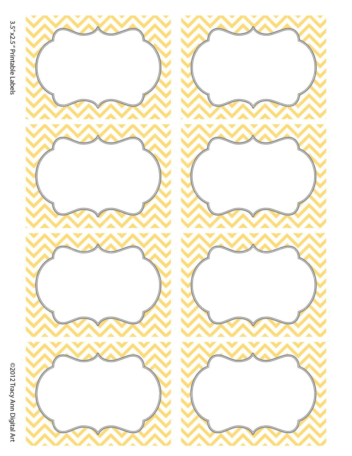 Chevron Labels Print Your Own Labels Yellow And Grey. $5.00, Via - Free Printable Chevron Labels
